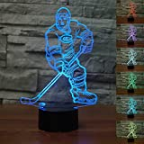 3D Luce Notturna, SUAVER 3D Optical Illusion 7 Colori Cambiano Tocco Lampada da Tavolo Decorazione Luci per Camera da Letto della Stanza di Bambini (Hockey su ghiaccio)