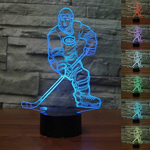 3D LED Lampe Nachtlicht,KINGCOO Visualisierung Amazing Optische Täuschung Touch Control Light 7 Farben ändern Schreibtischlampen für Kinderzimmer Decoration,Best Geschenk (Eishockey)