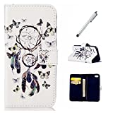 MUTOUREN Samsung Galaxy A3 (2016 Version) A310F Wallet Case Leather mental silvery pen card holder-dreamcatcher and butterfly+mental silvery pen