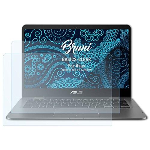 Bruni Schutzfolie kompatibel mit Asus ZenBook Flip 14 UX461UN Folie, glasklare Displayschutzfolie (2X)