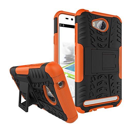 Sunrive Für Huawei Y3 II / Y3 2, Hülle Tasche Schutzhülle Etui Case Cover Hybride Silikon Stoßfest Handyhülle Hüllen Zwei-Schichte Armor Design schlagfesten Ständer Slim Fall(Orange)