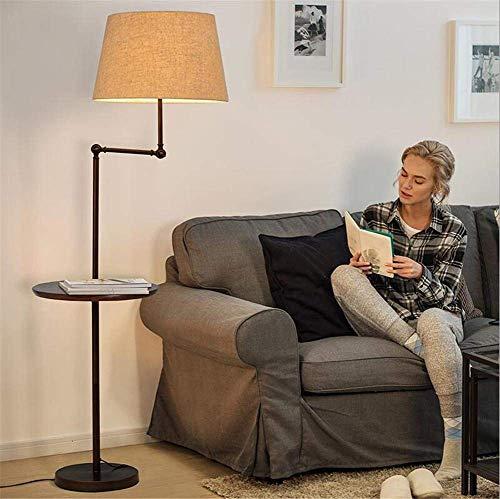 Couchtisch Stehlampe mit verstellbarer Gelenk Led Lampe (Geschenk) Lampenköpfe mit Knopfschalter Leinenschirm Weiß Eiche Panel Stehlampe 1,6 M für Wohnzimmer Schlafzimmer Büro Nacht Lesen