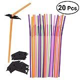 LUOEM 20 pcs Graduation Cap flexible pailles en plastique pliables décoratifs Cocktail pailles pour l'obtention du diplôme décoration de fête fournitures (couleur assortie)