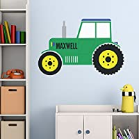 Personalised Green Tractor Wall Sticker Decal Mural Transfer - Perfect for Boys Girls Bedroom Nursery Playroom Bathroom