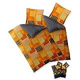 aqua-textil 4-tlg. Bettwäsche 135x200 Baumwolle, Trend Bettbezug Adia Karo-Muster grau orange grün Wendedesign 0011835