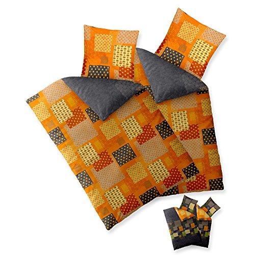 aqua-textil Trend Bettwäsche 135 x 200 cm 4-teilig Bettbezug Baumwolle Adia Karo-Muster grau orange grün Wendedesign 0011835 -