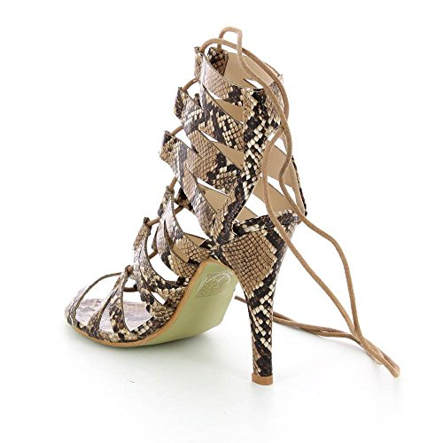 Sandales à talon aspect cuir serpent - Talon 11 cm Beige