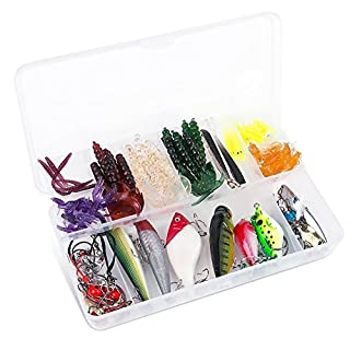 ALLIMITY Fishing Lure Set with Tackle Box Hard Spinner Lure Spinnerbait Kit Mix Colors Bass Bait Minnow Fishing Lures Set Floating Popper for Bass and Trout Hard Plastic with Tackle Hooks