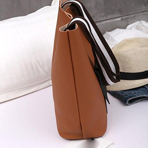 Borsa In Pelle Artificiale, Borsa A Benna Donna Wide Tracolla Borsa Borsetta Grande Capacità Crossbody Bag by Kangrunmy Marrone