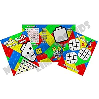 MunchieMoosKids Pack of 12 - Brick Block Fun and Games Activity Sheets - Party Bag Fillers