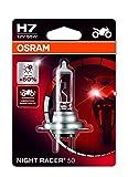 OSRAM NIGHT RACER 50 H7 Halogen, Motorrad-Scheinwerferlampe, 64210NR5-01B, Einzelblister (1 Stück)
