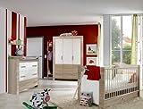 7-tlg Babyzimmer Eiche sägerau - weiß Kleiderschrank Wickelkommode Babybett