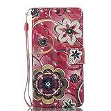 Phcases Handyhülle für Samsung Galaxy J520 Hülle Brieftasche Klapphülle mit Standfunktion Kartenfach und Magnetverschluss 3D Effekt Design Tasche aus PU Leder Silikon Schutzhülle Katzen-Blume.