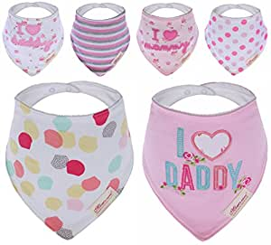 Bebedou Lovely Cotton Embroidered Bandana Bibs 6 Pack newborn gift pack super absorbent drool bibs , baby shower gifts , boys , girls, unisex (daddy)