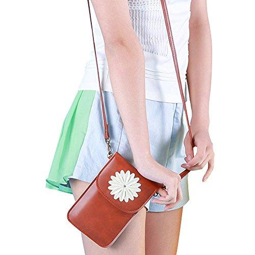 Contever® Retro Patrón del Crisantemo Funda / Bolso de Teléfono Móvil con la Pantalla Táctil para Teléfono menos que 6 Pulgadas Cuero PU Mujer Bolso Bandolera / Bolsa de Hombro -- Marrón
