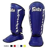 Fairtex Muay Thai MMA boxeo espinilleras SP7 Twister desmontable en paso espinilleras color: blanco negro azul rojo amarillo tamaño: medio grande pasos, color Azul - azul, tamaño mediano