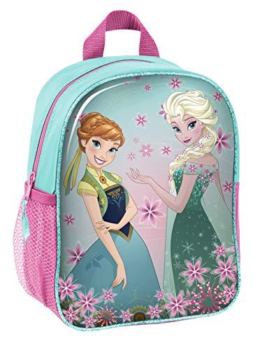 Disney Frozen - Die Eiskönigin ELSA Anna Olaf Rucksack Kinderrucksack (DRL) mit Hauptfach und Nebenfach Getränkenetz, 28x22x10 cm, blau/rosa
