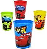 Unbekannt 4 Stück _ 3 in 1 - Trinkbecher / Zahnputzbecher / Malbecher - Becher -  Disney Cars - Lightning McQueen  - 280 ml - Trinkglas aus Kunststoff Plastik - für K..