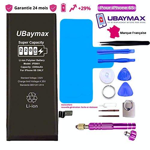 UBaymax Batterie Compatible avec iPhone 6S Haute Capacité 2200 mAh avec 29% de Plus Kit Batterie de Remplacement avec Outils Complets Garantie 24 Mois