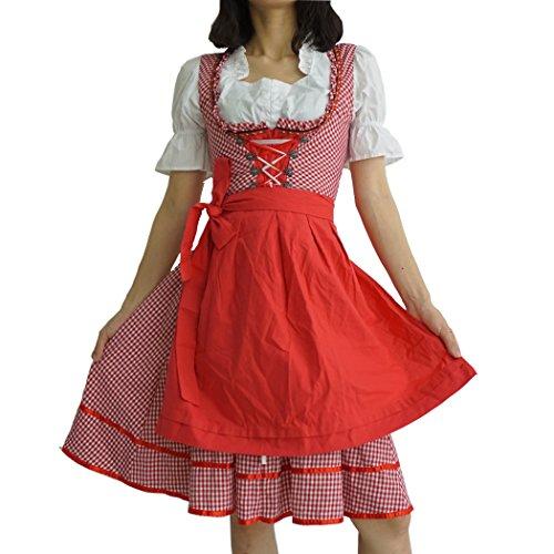 Dirndl Damen 3tlg Set Bluse Schürze Kleid dabei Trachtenkleid Weiß Rot Kariert mit Miederhaken 38 (Weiß Kleid Rot Karierte)