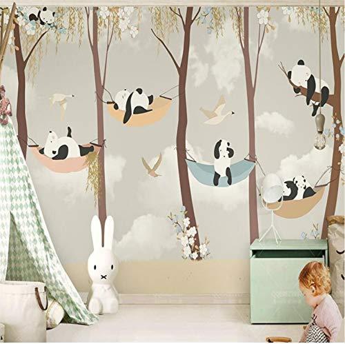 Yirenfeng Kinderzimmer Handgemalte Süße Schläfrige Panda Willow Blumen Tv Hintergrund Wand Professionelle Produktion Tapete Wandbild Benutzerdefinierte140X70CM