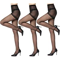 3 Pairs Women's Sheer Tights - 20D Control Top Pantyhose with Reinforced Toes…