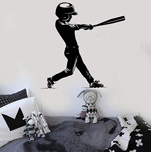 Baseball Boy Wandtattoo Spieler Ankleidezimmer Kinderzimmer Home Decor Vinyl Fenster Aufkleber Abnehmbare Silhouette Kunst Wandbild 58X57Cm