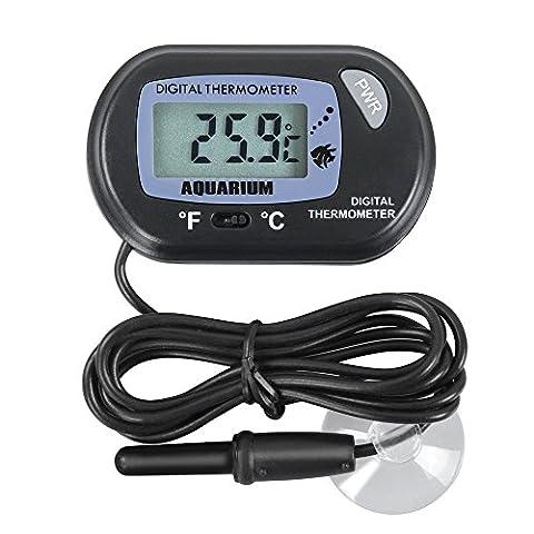 iSwank Thermomètre Aquarium Ventouse, Thermomètre Numérique Digital LCD avec Sonde et Ventouse pour Aquarium Vivarium Terrarium Baignoire