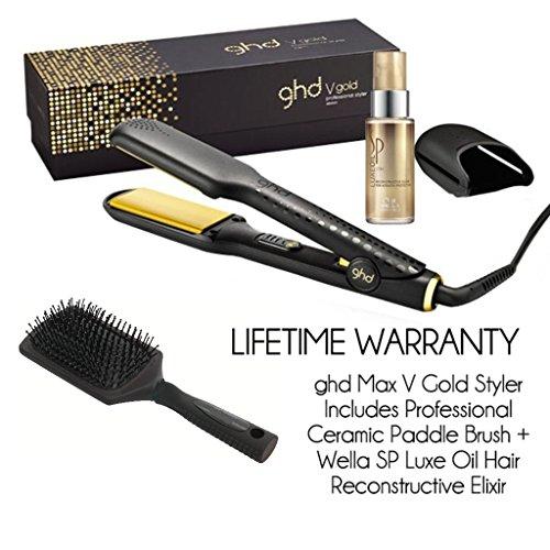 ghd vGold - Alisador de pelo, placa amplia, incluye funda de viaje,100% original y auténtica