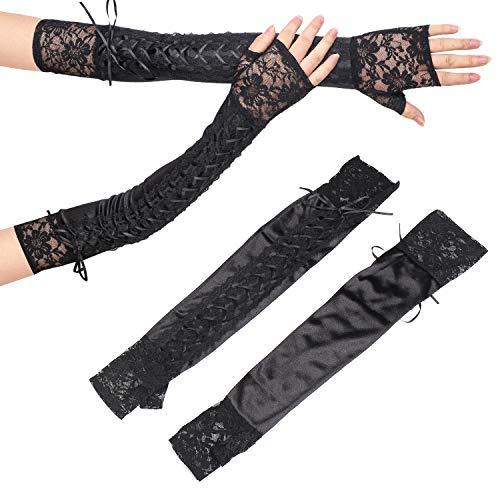 Beefunny Damen Sexy lange schwarze Schnürung Fingerlose Handschuhe Spitze Manschetten Armstulpen Steampunk Cosplay Kostüm Gr. 85, C