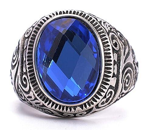 Epinki Herren Ringe, 316L Edelstahl Oval Form Bandring mit Zirkonia Blau Saphir Herrenring Ring Gr.70