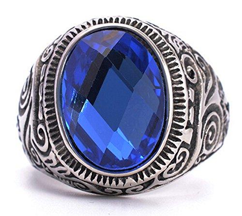 Epinki Herren Ringe, 316L Edelstahl Oval Form Bandring mit Zirkonia Blau Saphir Herrenring Ring Gr.70 (22.3) (Saphir Und Diamant Ohrringe Kostüme)