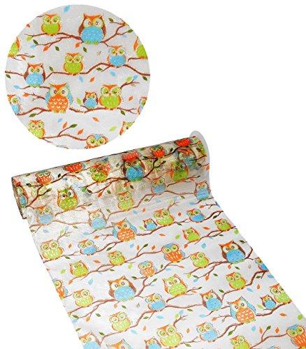 """Preisvergleich Produktbild 1 m * 29 cm - Deko Stoff - """" lustige Eulen auf Ast - mit Glitzer """" - Meterware - ideal z.B. als Tischläufer / Tischdeko zum Schulbeginn - Eule Tiere - Tischdecke Chiffon durchsichtig - Creapop Dekostoff"""