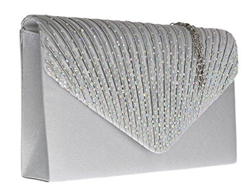 Girly HandBags Gefaltet Satin Clutch Tasche Diamanten Frauen Silber