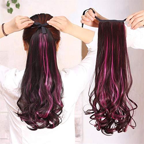 ücken, Lange lockige synthetische Farbe Lace Perücke Haar Ersatz Perücken für Frauen mit Perücke Kappe (Color : Pink) ()
