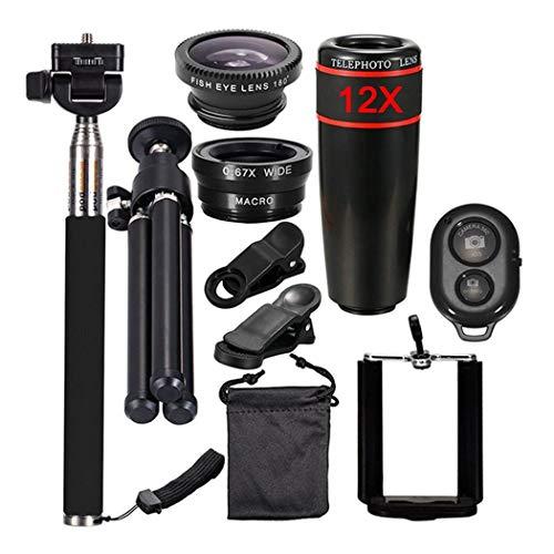 10in1 Kamera Handy Objektiv Kit 12X Zoom Teleobjektive für iPhone und Android Smartphones Einbeinstativ Bluetooth Shutter Stativ