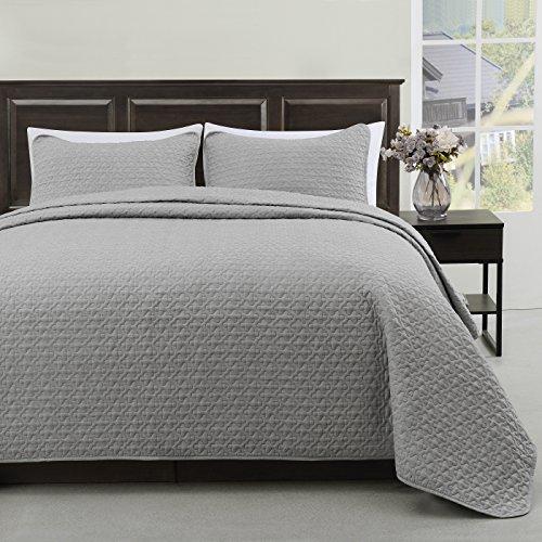 Cozy Beddings Madison Bettwäsche-Set für King-Size-Bett und King-Size-Bett, gesteppt, Hellgrau, dünn, extra leicht und übergroße Decke, 3-teilig King/Cal-King grau - Cal-king-size-bett Bettwäsche