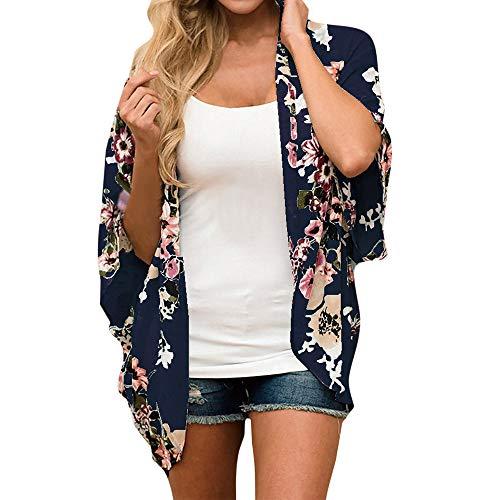 VEMOW Heißer Sommer Herbst Frauen Chiffon Lose Schal Print Kimono Cardigan Top Cover up Bluse Beachwear (X3-Marine, EU-48/CN-S)