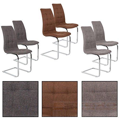 Esszimmerstuhl Freischwinger Stoff Stuhlgruppe Esszimmerstühle Schwingstuhl Set (2 Stück, Braun)
