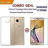 SAMSUNG J7 PRIME Transparent Silicone TPU Shock Proof Ultra Slim Back Cover Case + Premium Tempered Glass Screen Protector
