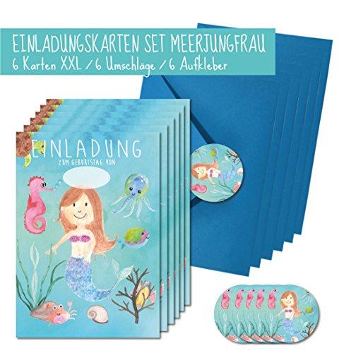 XXL Meerjungfrau Einladungskarten Set DIN A5 für Mädchen/Einladungen Set Kindergeburstag Mermaid für Unter Wasser Welt Mottoparty / 6 Karten + 6 Umschläge und 6 Aufkleber hochwertig gedruckt ...