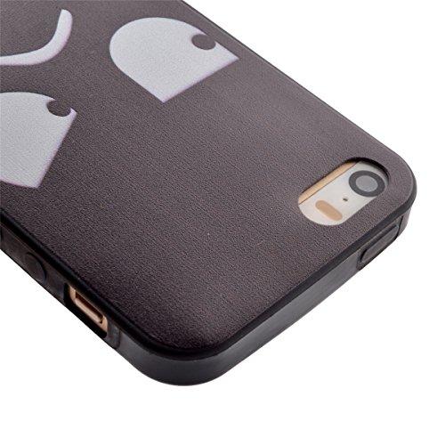 iPhone 5S Coque, iPhone 5 Coque, Lifeturt [ Star Papillon ] Housse Anti-dérapante Absorbant Chocs Protection Etui Silicone Gel TPU Bumper Case pour Apple iPhone 5/5S/5G E02-Ne touchez pas mon téléphone10473