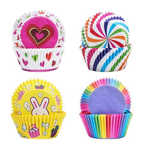 SenPuSi Kuchen Pappbecher, Cupcake Wrappers Bunte Muffin Cupcake Förmchen Kuchen Pappbecher Zum Muffin Schokolade Kuchen, Ölbeständig Küche Liefert (100 PCS)