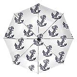 MONTOJ Regenschirm mit Anker-Muster, Sonnenschirm und Regen, UV-Schutz mit automatischer Öffnung