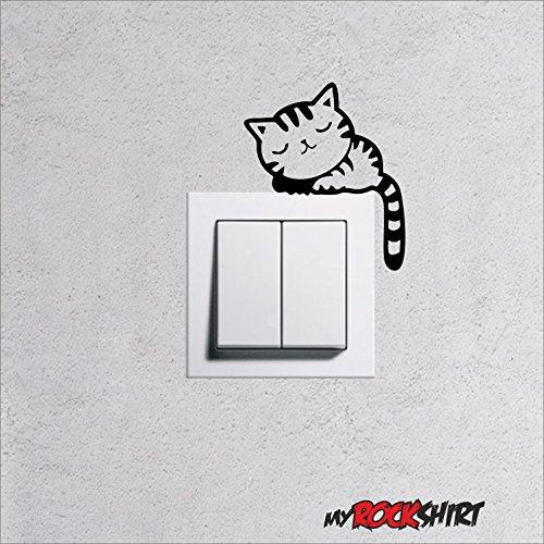 """Wandtattoo für Steckdose / Lichtschalter """" Katze Typ 7 """" viele Farben zu Auswahl, Wallart für Steckdosen Licht Wohnnzimmer Kinderzimmer, Lichtschalter Aufkleber Tattoo Sticker"""