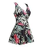 Summer Mae Damen Badekleid Plus Size Geblümt Figurformender Einteiler Badeanzug Swimsuit Schwarz und Rot mit Kirsche (EU Size 50-52)