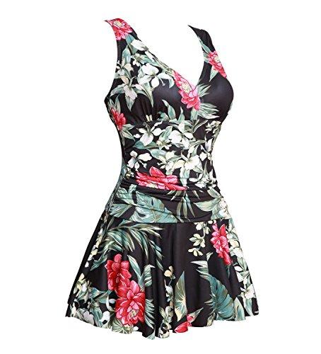 Summer Mae Damen Badekleid Plus Size Geblümt Figurformender Einteiler Badeanzug Swimsuit 42-44