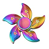 #8: High Quality Metal Fidget Spinners (Flower Rainbow Multicolor)