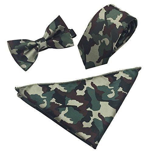 FASINUO Herren Set Einheitsgröße Gr. Einheitsgröße, Dark Green Camouflage Camouflage-fliege