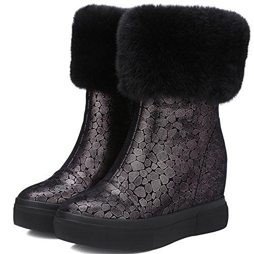aggiunto velluto ispessimento con racchette da neve/Casual/Slim stivali donna/Grace aumentata calda pelle stivali-A Longitud del pie=22.3CM(8.8Inch)